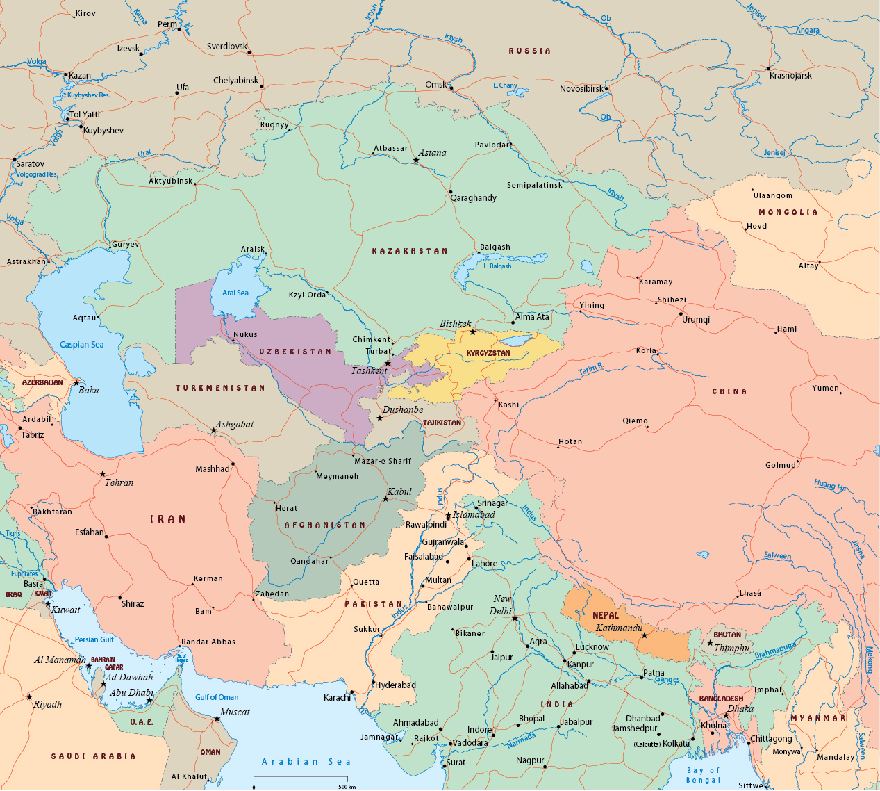 Political Map Of Central Asia.Central Asia Political Map
