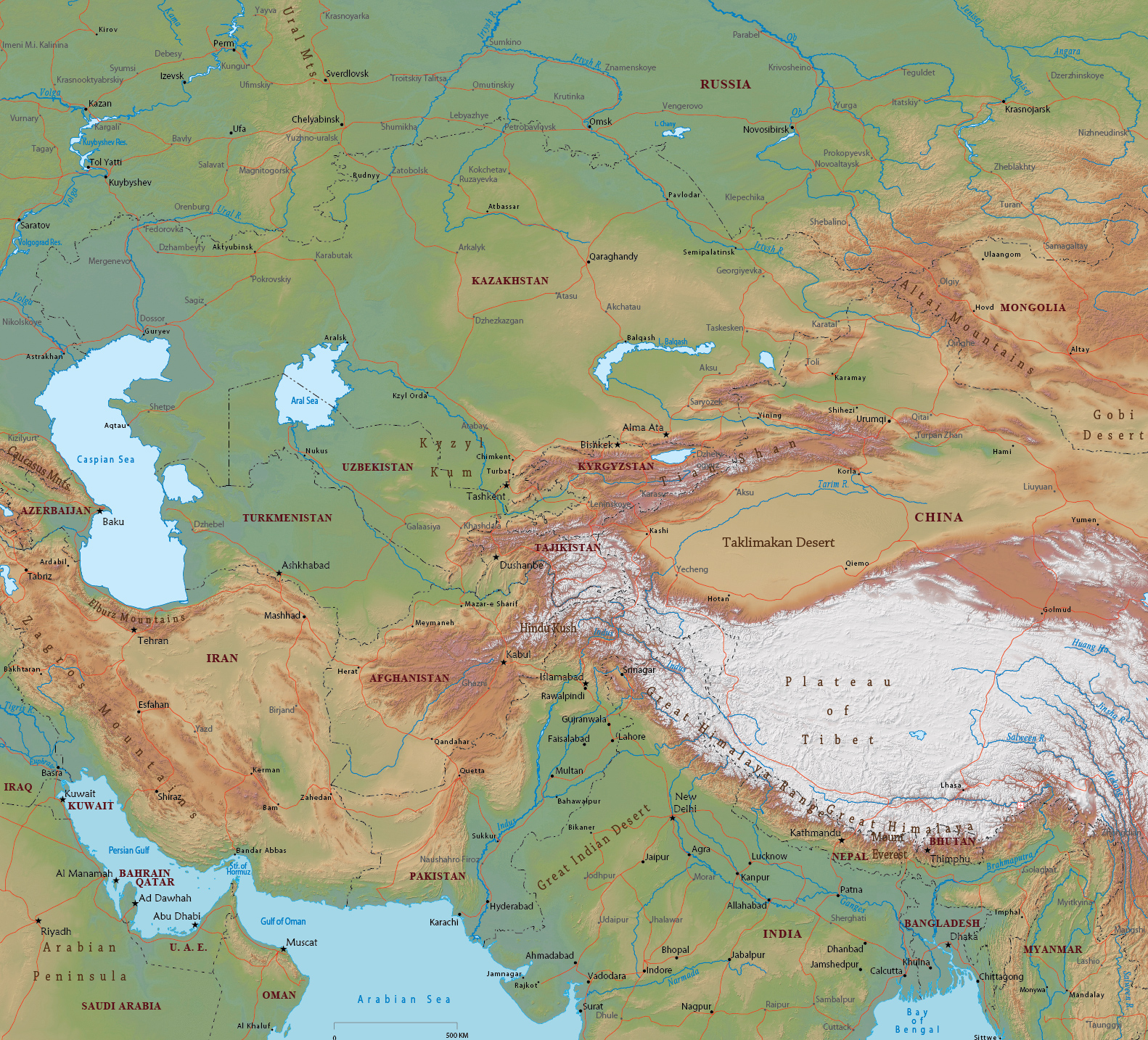 Physical Map Of Asia With Labels.Central Asia Physical Map