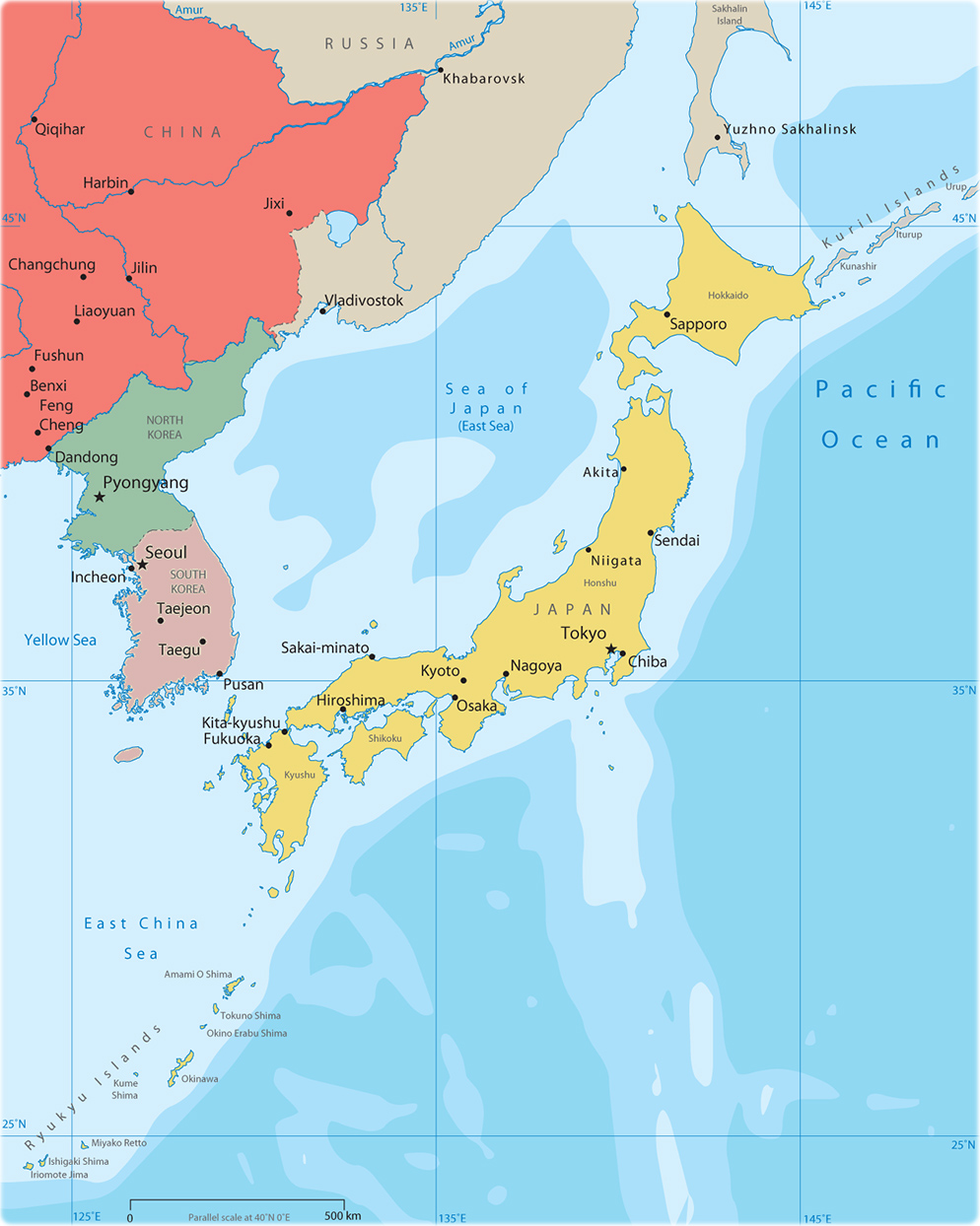 Political Map Of East Asia - Japan map political