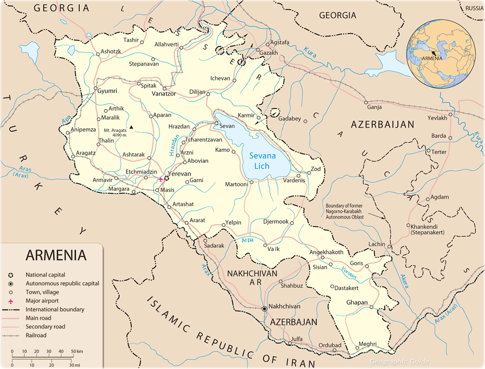 Armenia Map Capital Yerevan