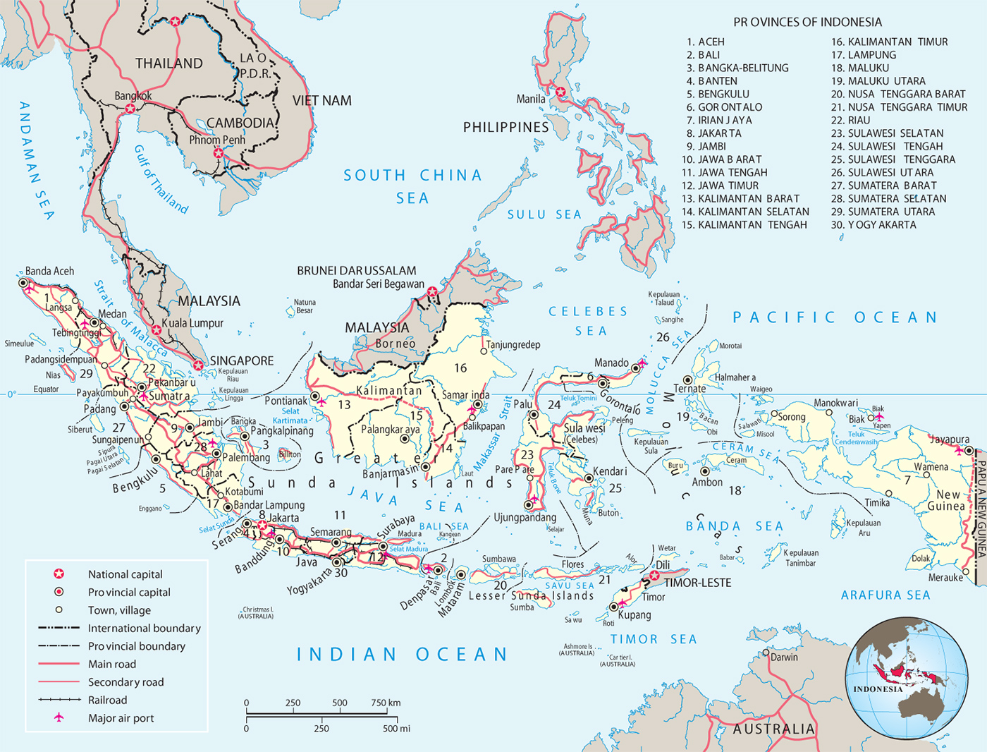 Map Of Asia With Capital Cities.Indonesia Map Flag Capital Jakarta