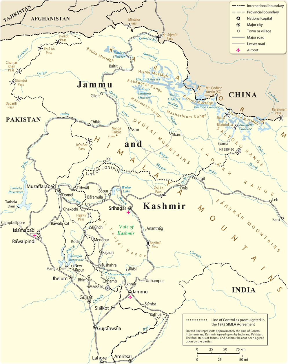 Kashmir and Jammu - Map of the Area