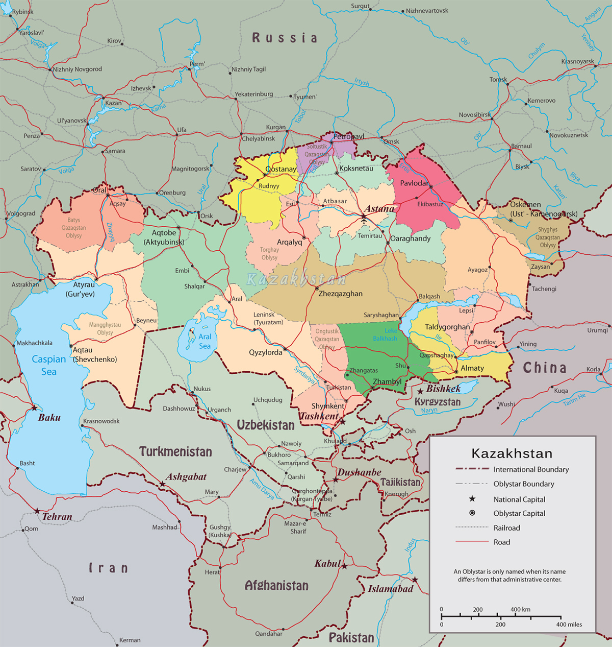 Kazakhstan Political Map.Kazakhstan Map Capital Astana