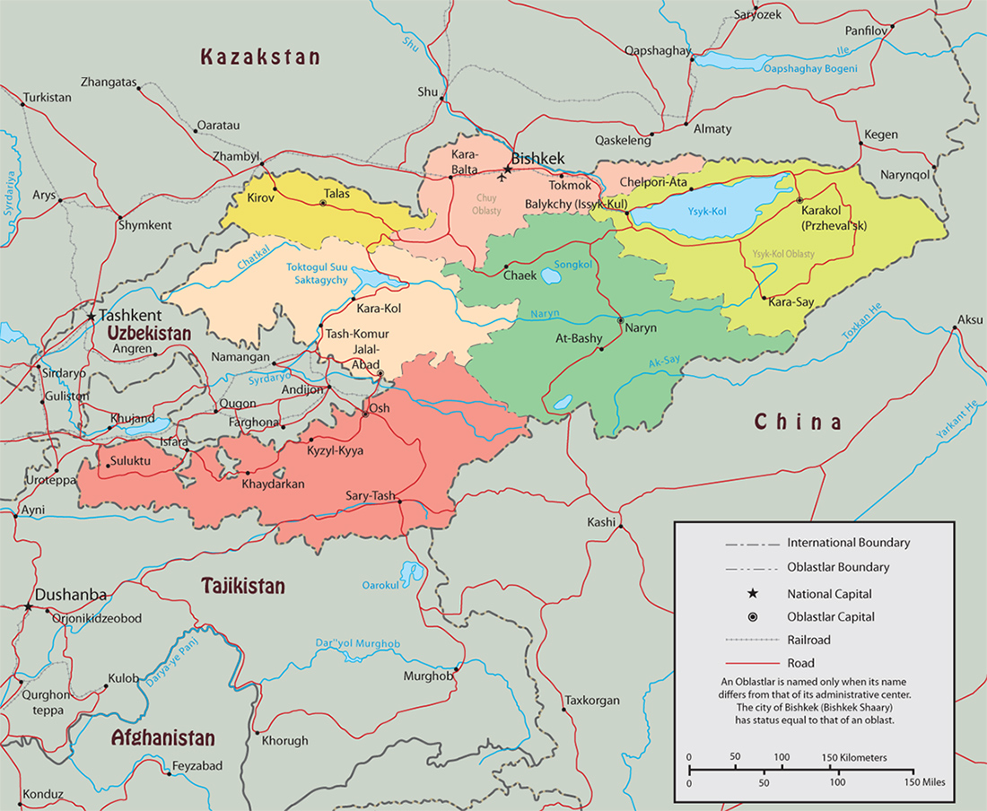 Kyrgyzstan map capital bishkek map kyrgyzstan gumiabroncs Choice Image