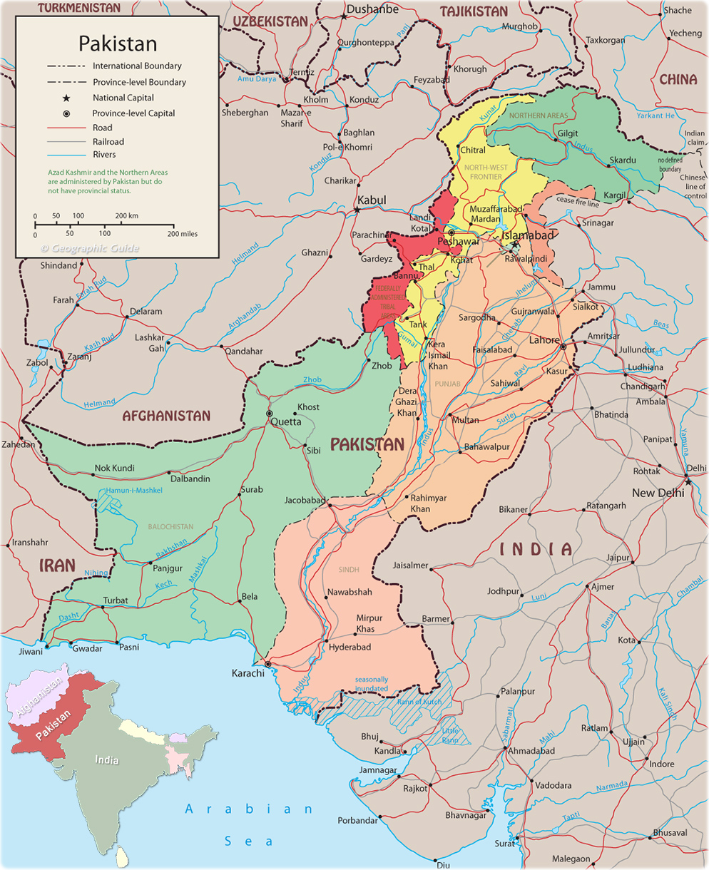 Political Map Of Pakistan Map Capital Islamabad K - Map pakistan