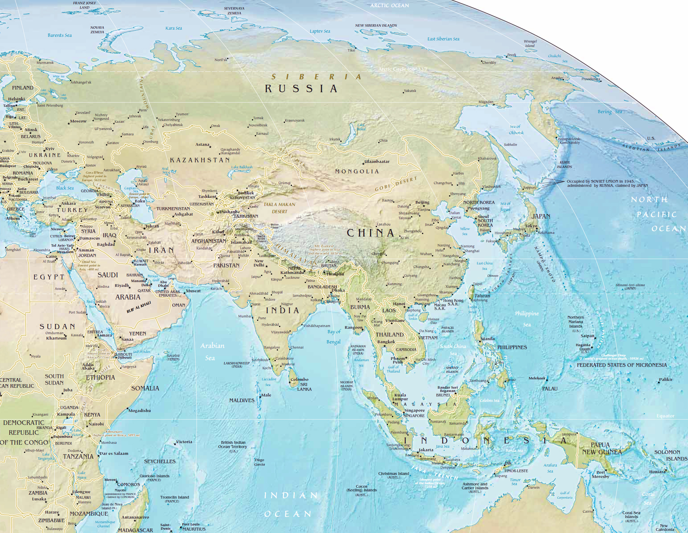Geography Map Of Asia.Asia Physical Map