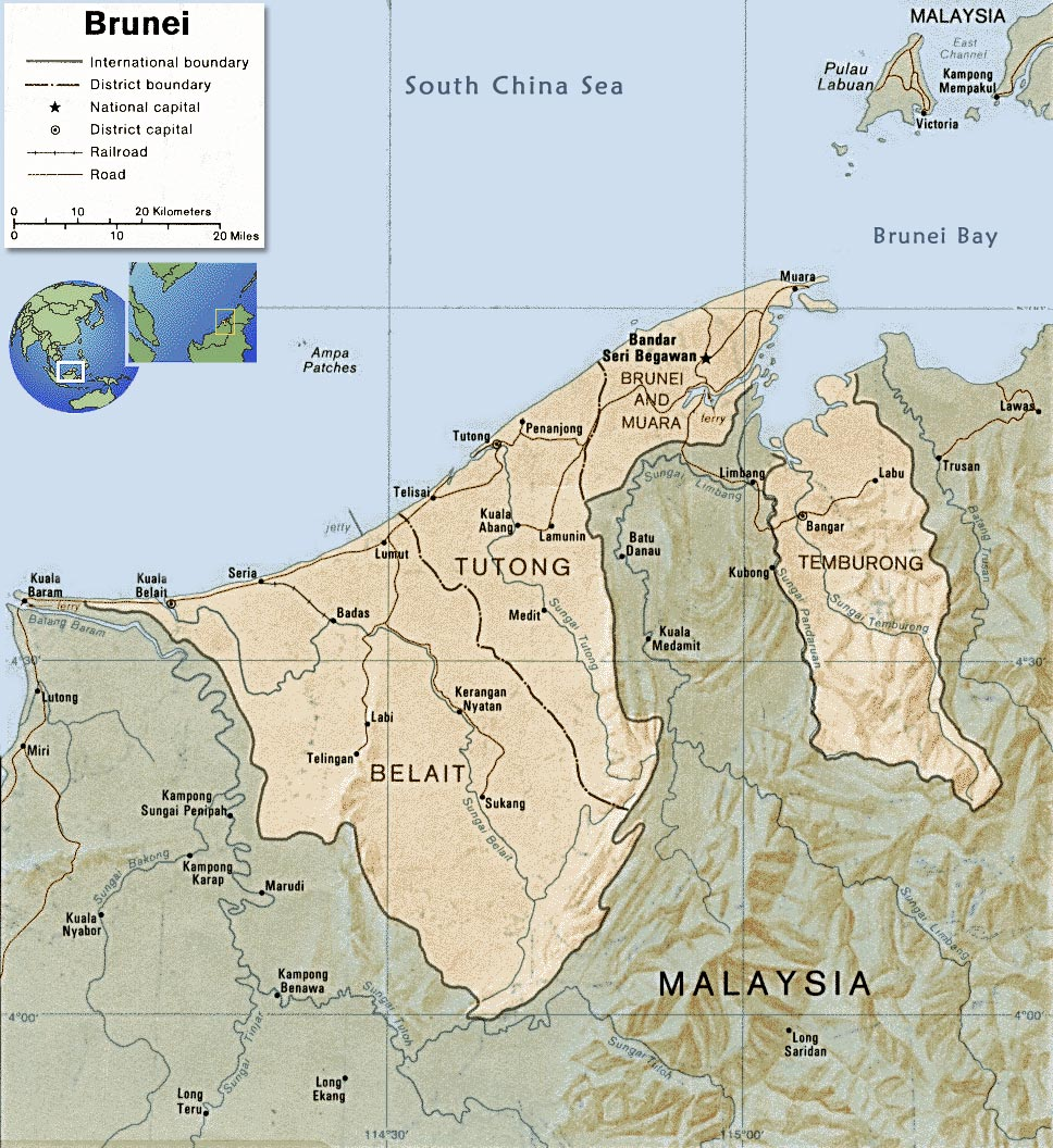 Brunei Map, Flag  Capital Bandar Seri Begawan