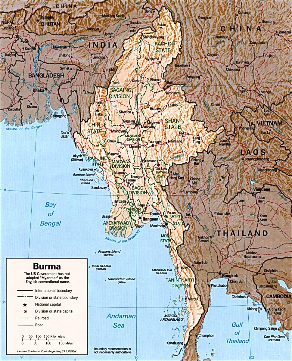 Myanmar Map Burma Capital Rangoon Yangon