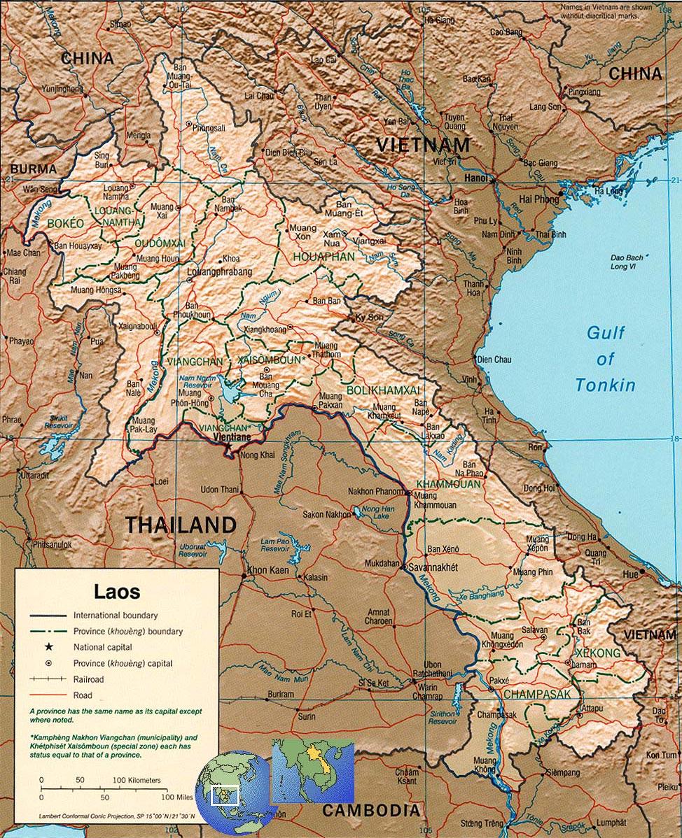 Laos Map Vientiane
