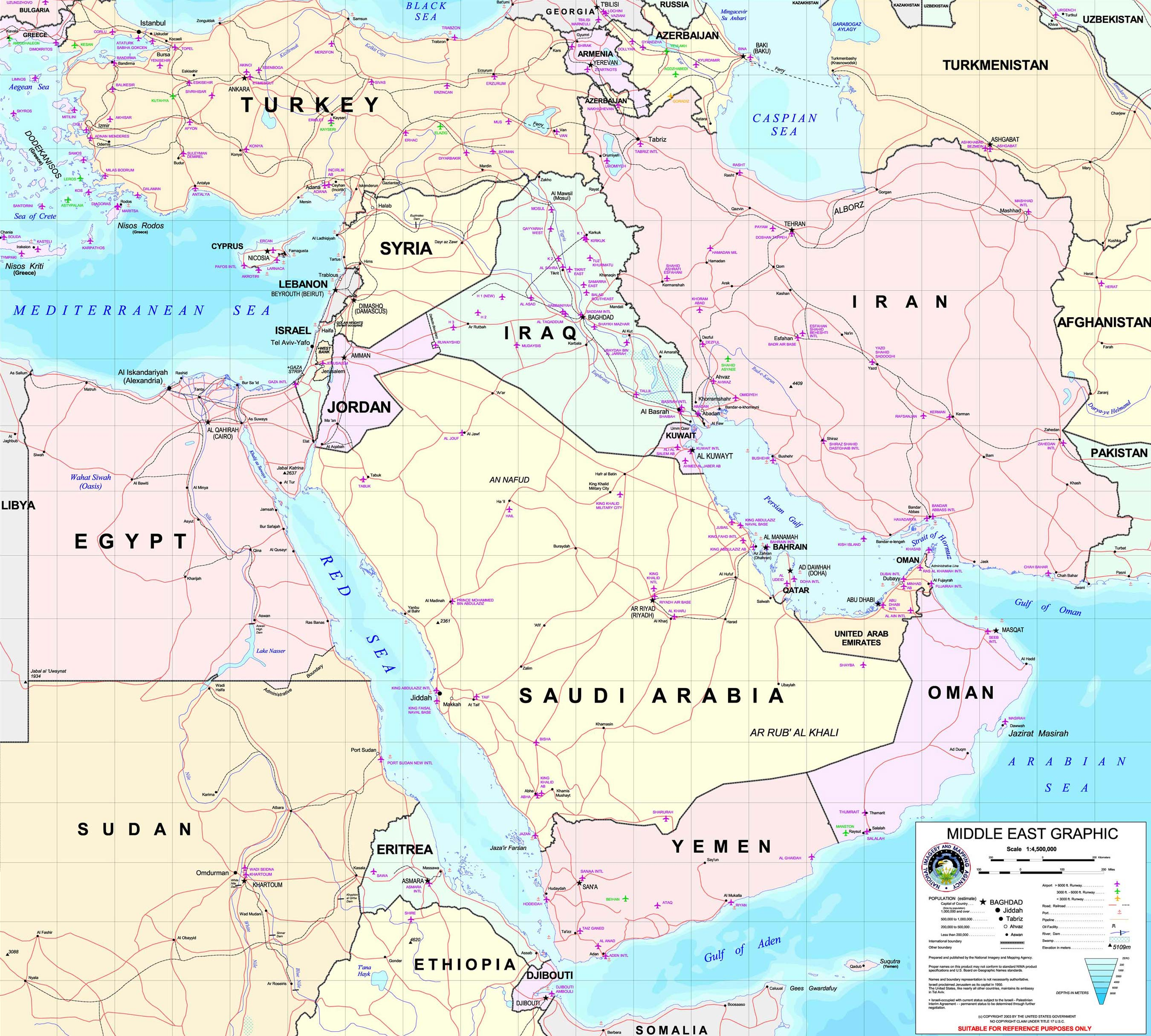Map of Middle East Persian Gulf