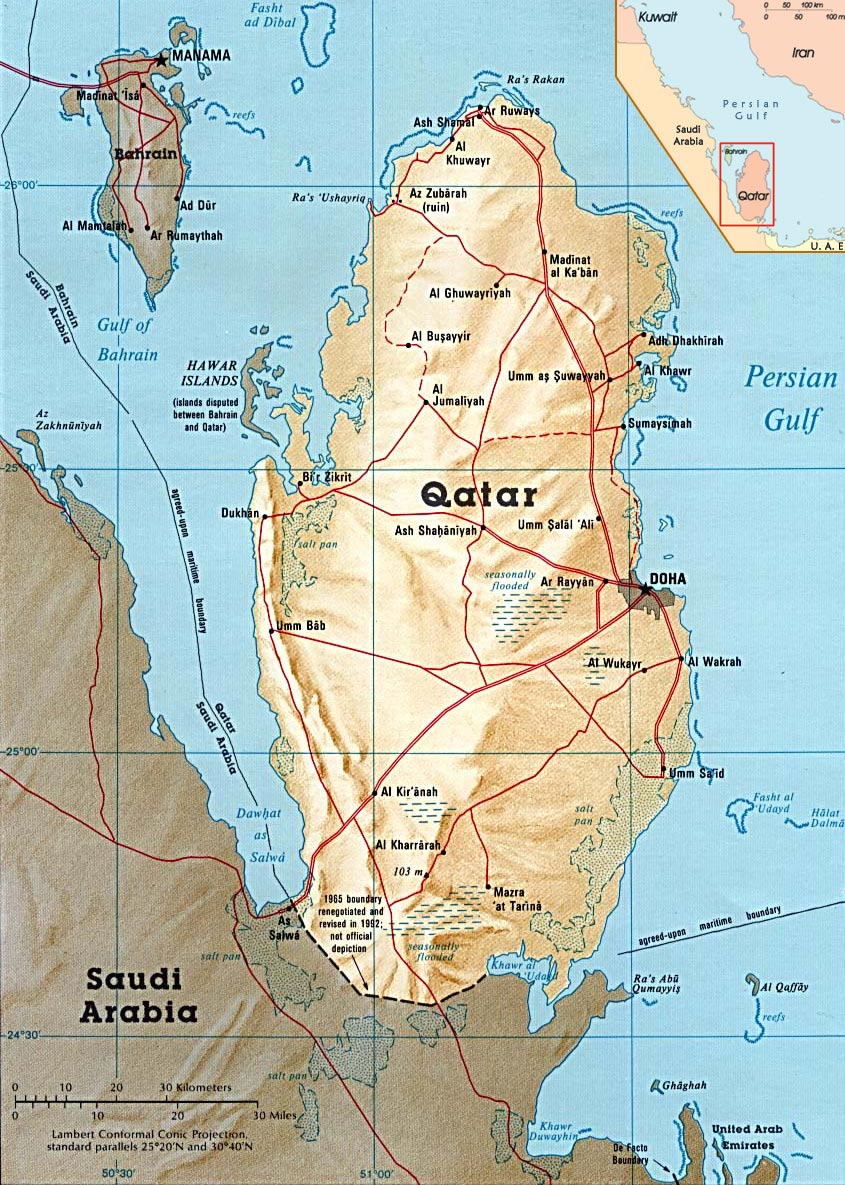 Qatar Map Flag Capital Doha