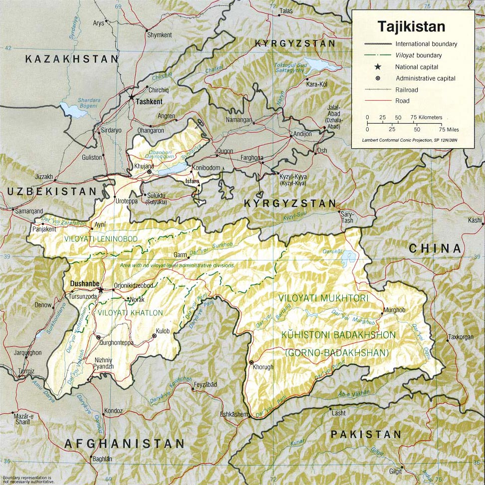 Tajikistan Map Capital Dushanbe