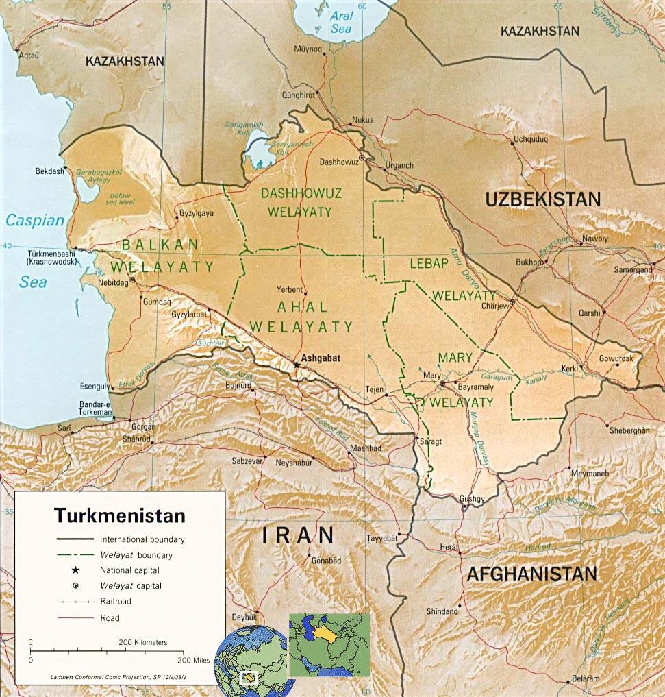 Turkmenistan Map Capital Ashgabat