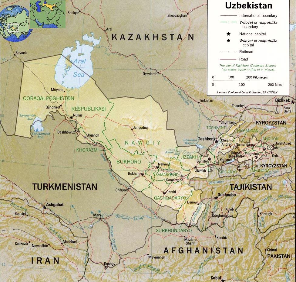 Uzbekistan Map Capital Aral Sea - Uzbekistan map