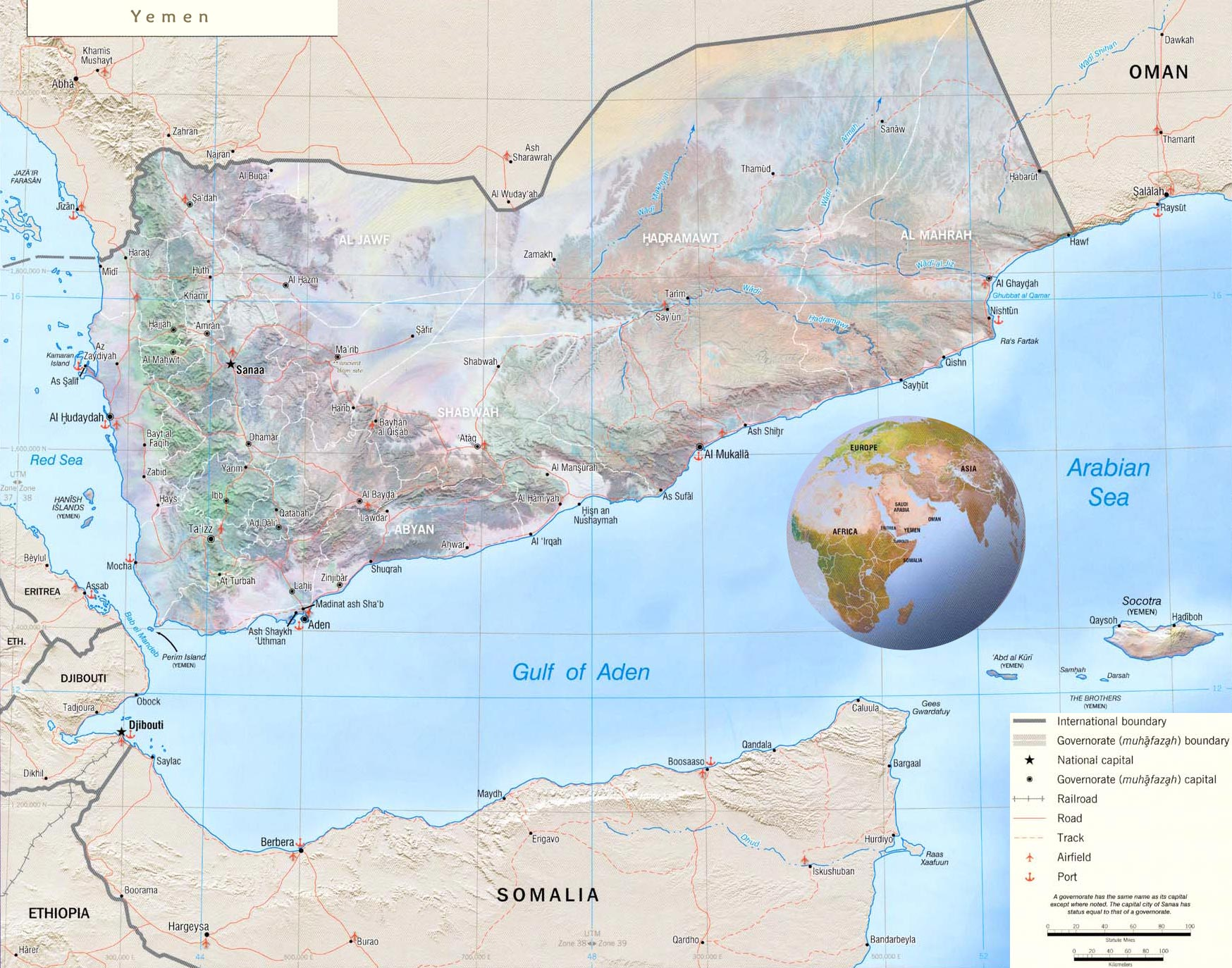 Yemen Map Flag Capital Sanaa - Sanaa map