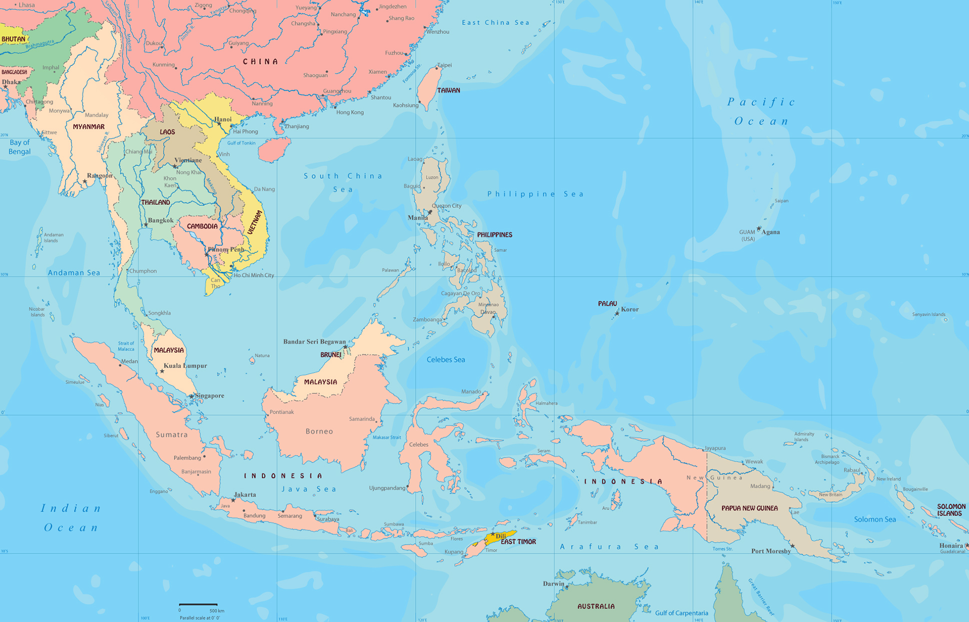 Southeast Asia Map Indonesia Malaysia Philippines Thailand